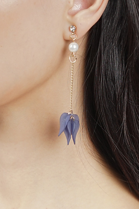 Blue Lily Asymmetrical Earrings  - Arriving Soon