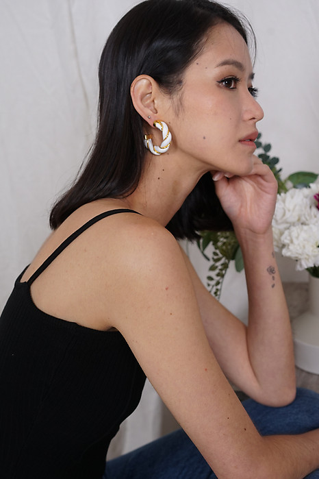 Orania Leather Hoops Earrings in White