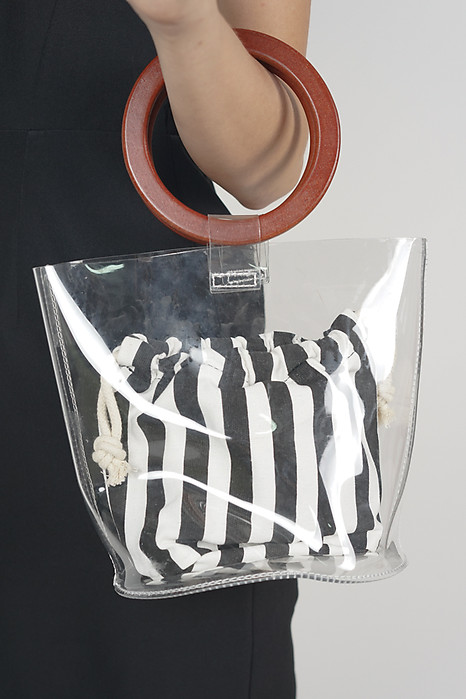 Wood Handle Clear Tote With Stripes - Arriving Soon