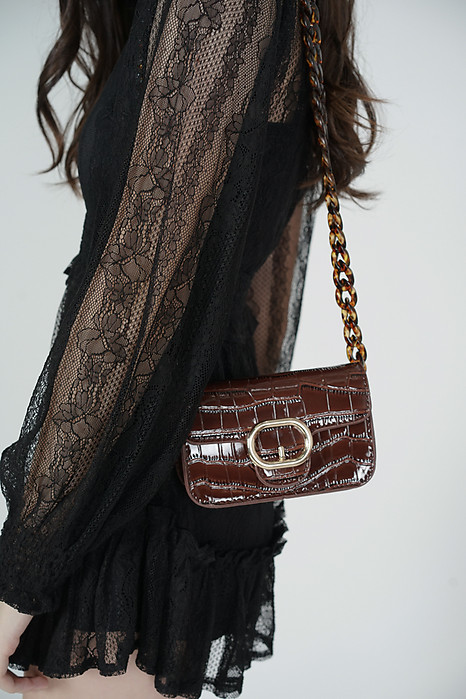 Cameran Buckle Bag in Dark Brown - Arriving Soon