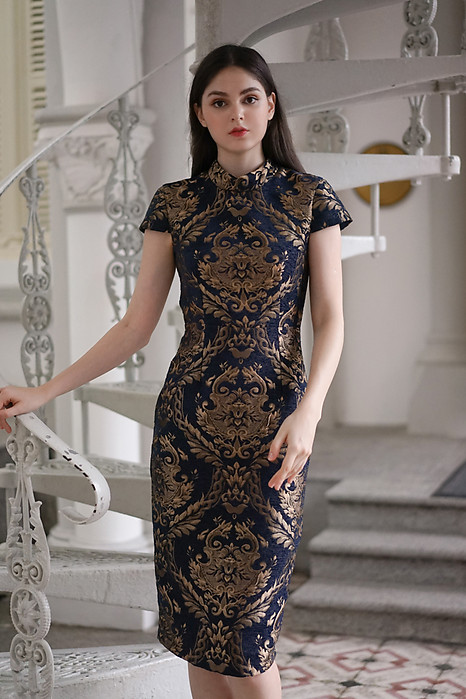Jacquard Cheongsam Dress in Navy Gold