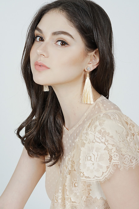 Camille Duster Earrings in Light Peach -  Arriving Soon