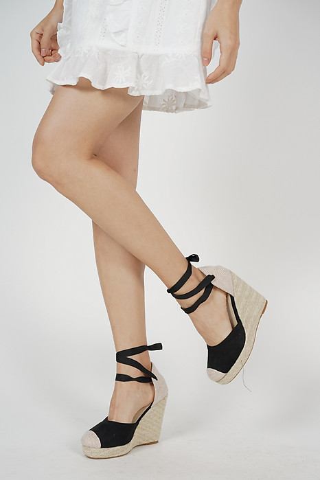 Sienna Picnic Wedges in Black - Arriving Soon