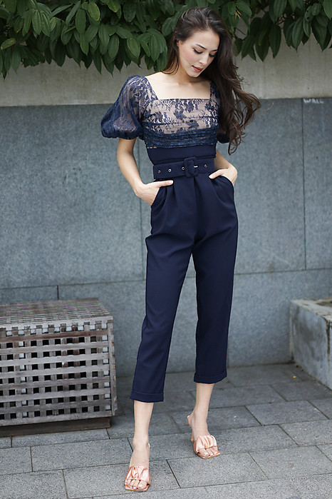 Meizea Lace Jumpsuit in Midnight - Arriving Soon