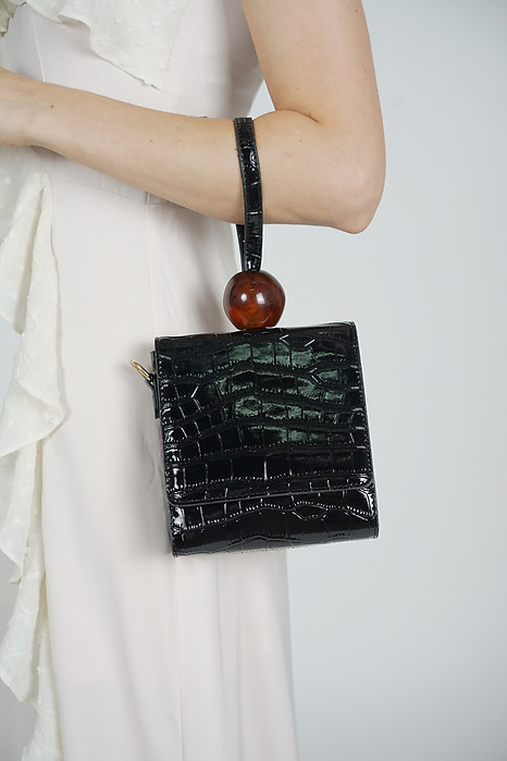 Arya Croc Bag in Black - Arriving Soon