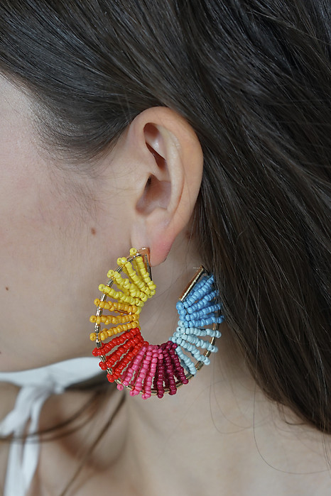 Beaded Hoop Earrings in Rainbow - Arriving Soon
