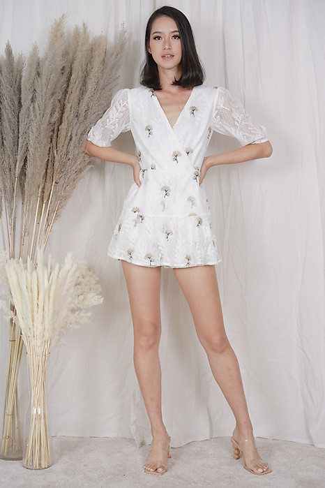 Utto Embroidered Romper in White Beige - Arriving Soon