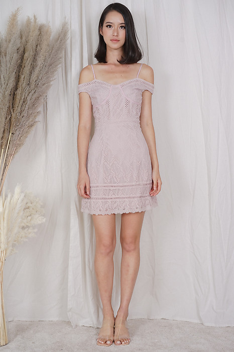 Jazni Lace Dress in Pink