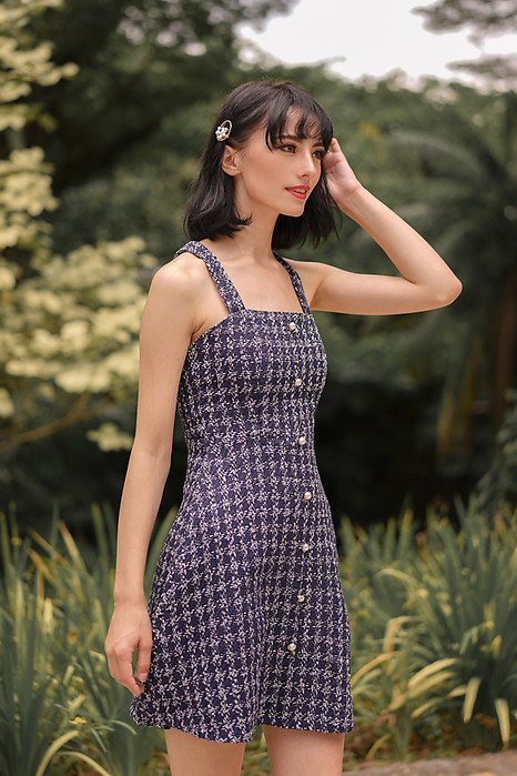 Meisha Tweed Dress in Navy