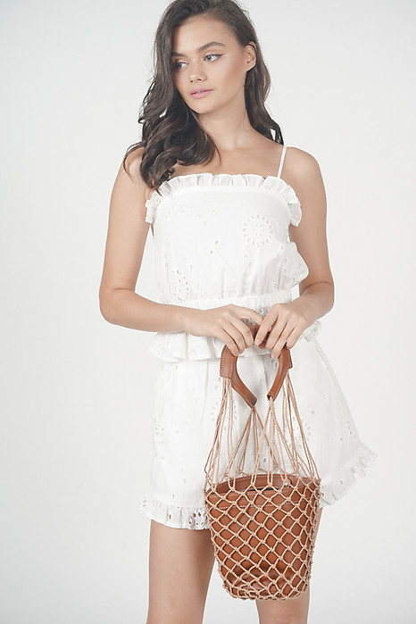 Netted Bucket Bag in Brown