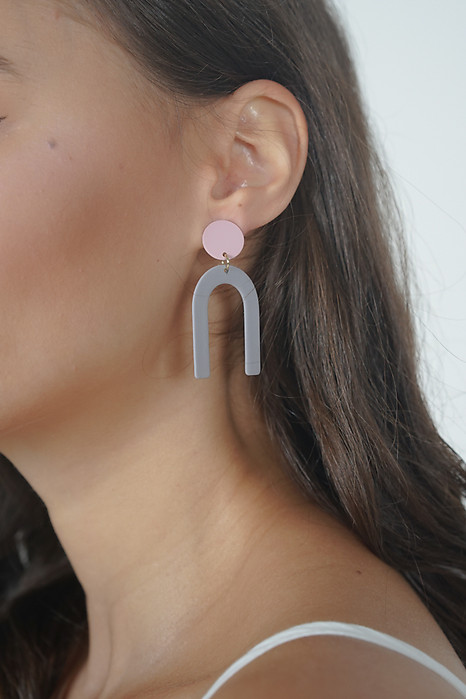 Dot-Drop Horseshoe Earrings in Grey - Arriving Soon