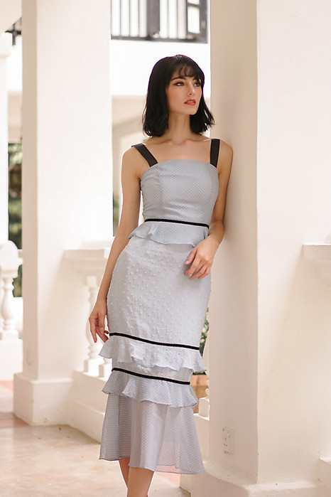Odine Ruffled Dress in Ash Blue