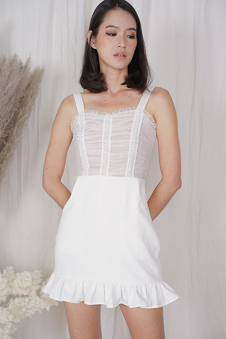 Argea Ruffled-Hem Skorts Romper in White - Shipping out from 20 to 23 April onwards