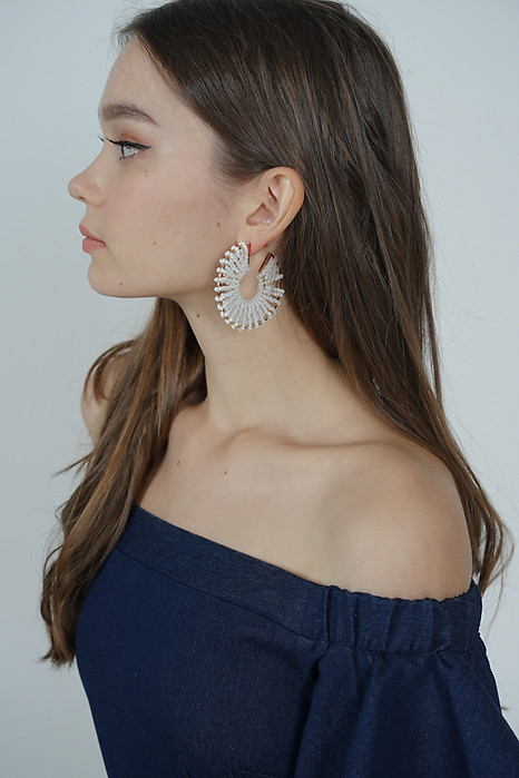 Beaded Hoop Earrings in White - Arriving Soon