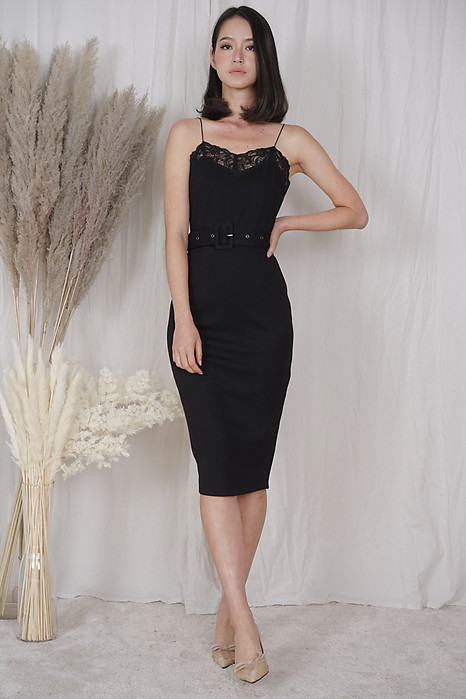 Mariea Lace-Trimmed Dress in Black - Arriving Soon