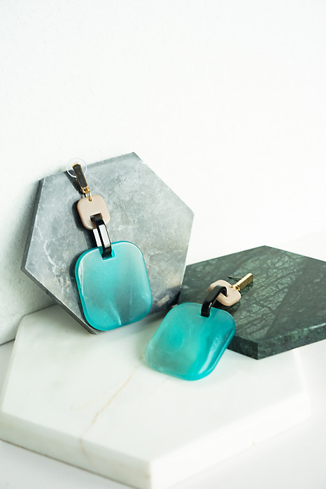 Colourblock Drop Earrings in Ocean Blue - Arriving Soon