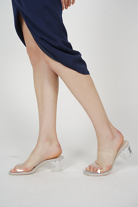 Eliza Clear Strap Mules in Silver - Arriving Soon