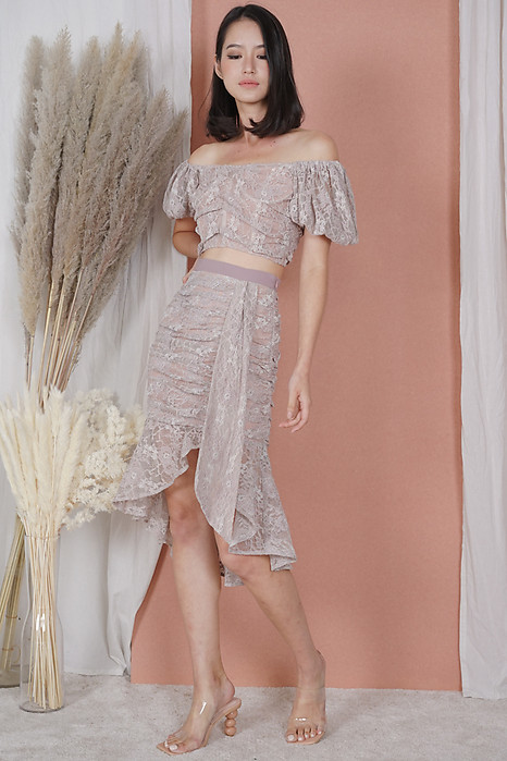 Armin Lace Skirt in Mauve Pink - Arriving Soon