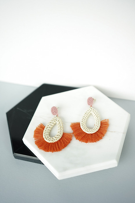 Woven Teardrop Tassel Earrings in Orange - Arriving Soon