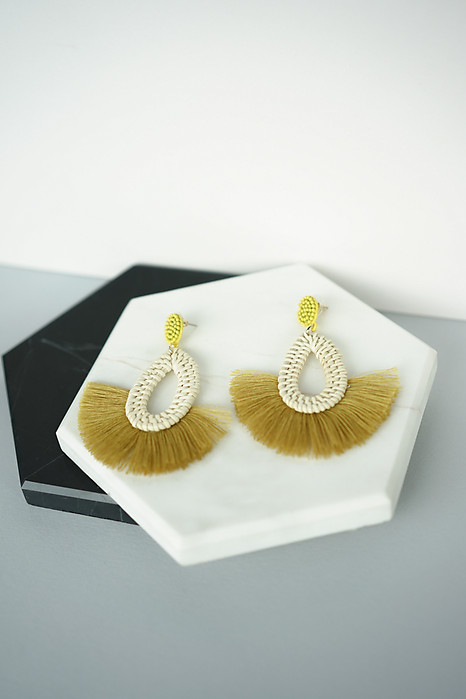 Woven Teardrop Tassel Earrings in Mustard - Arriving Soon