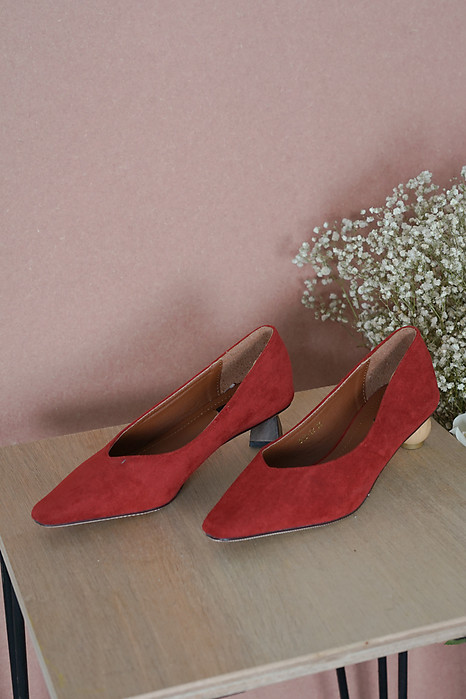 Lori Mismatch Pumps in Red - Arriving Soon