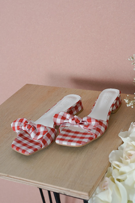 Leyla Checkered Mules in Red - Arriving Soon