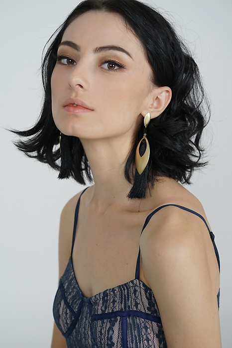 Suri Tassel Earrings in Black -  Arriving Soon