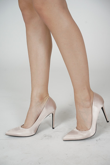 Selena Satin Pumps in Cream - Arriving Soon