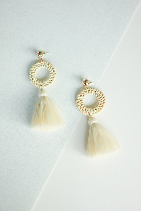 Hoop Tassel Earrings in White - Arriving Soon