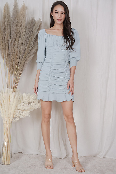 Bennia Ruched Dress in Sage - Arriving Soon