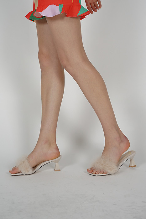 Isa Fluffly Mules in Cream - Arriving Soon