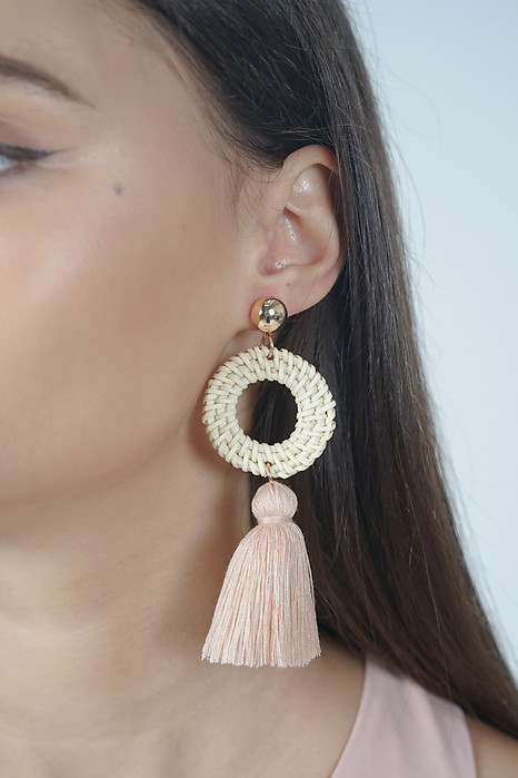 Hoop Tassel Earrings in Pink - Arriving Soon