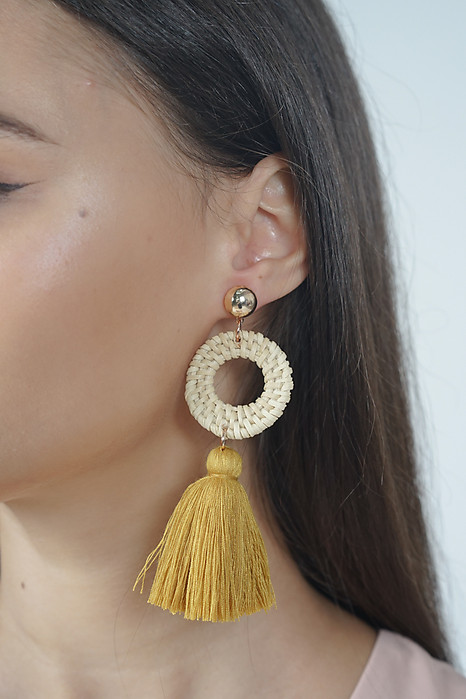 Hoop Tassel Earrings in Yellow - Arriving Soon