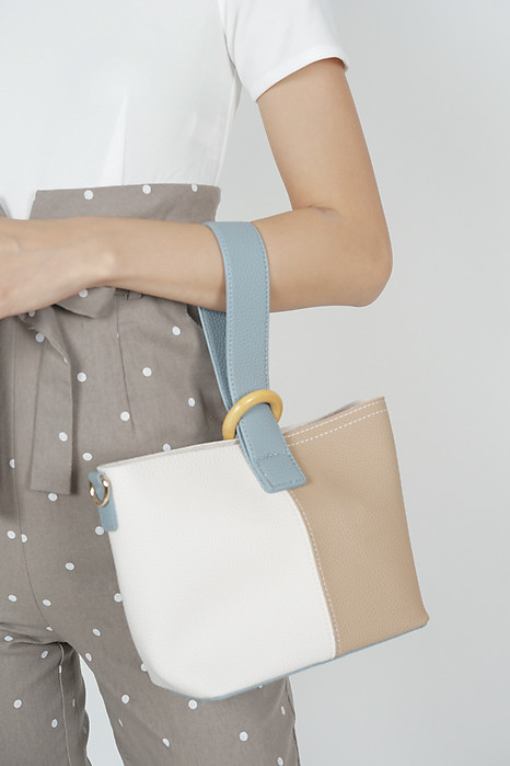Colourblock Wrist-Sling Tote in Nude - Arriving Soon