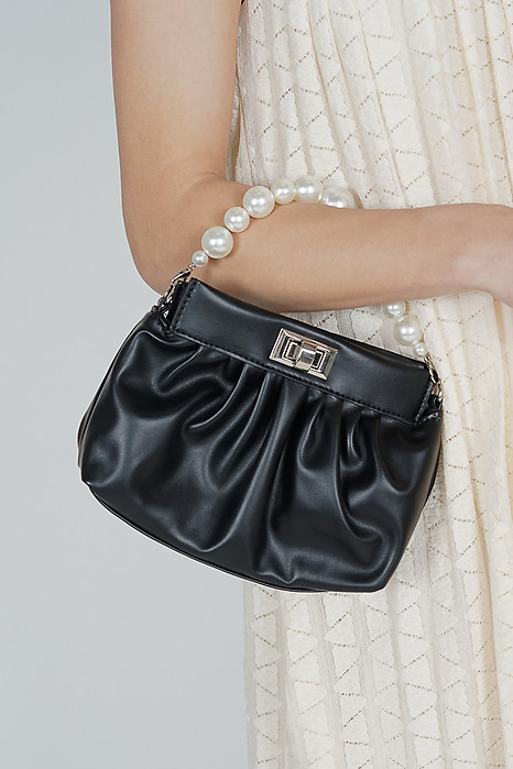 Tabia Gathered Pouch Bag in Black - Arriving Soon