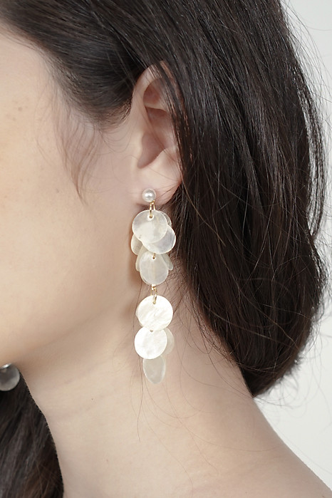 Anika Round Shell Earrings in White - Arriving Soon