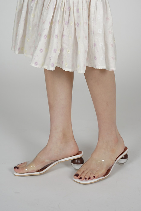 Riley Sphere-Heeled Mules in White- Arriving Soon
