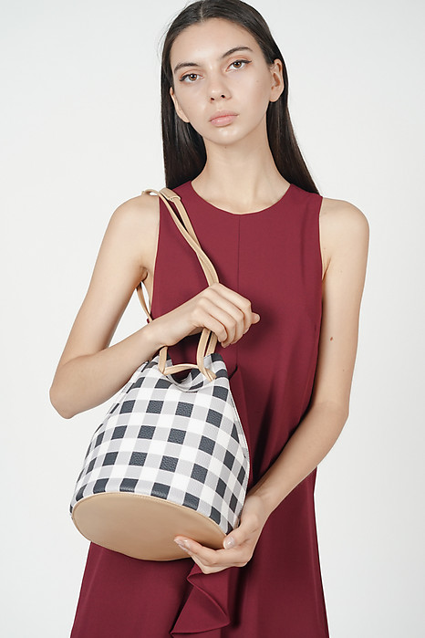 Gingham Bucket Bag and Pouch in Black