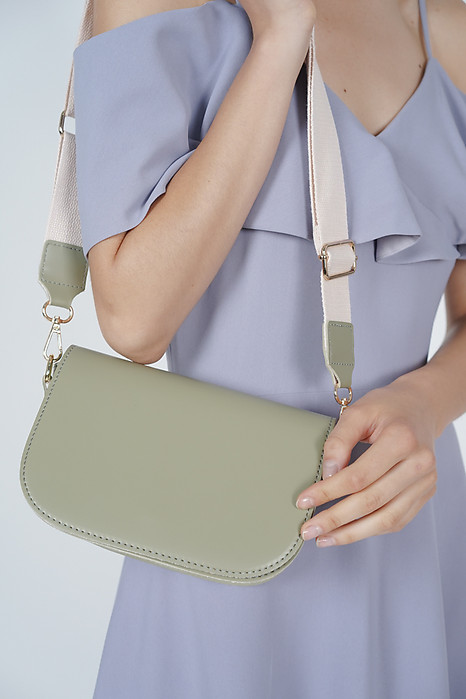 Open Flap Mini Messenger Bag in Green