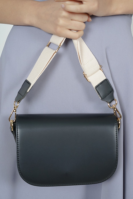 Open Flap Mini Messenger Bag in Black