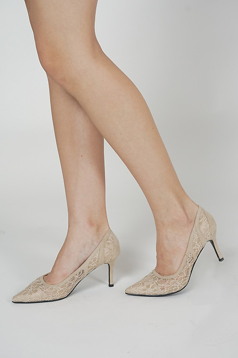 Dorina Lace Pumps in Nude - Arriving Soon