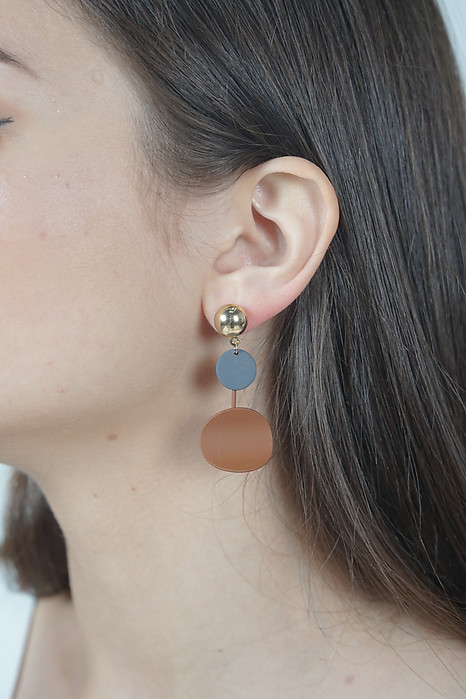 Colour Block Earrings in Brown - Arriving Soon