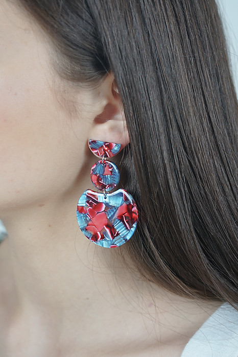 Triple Drop Earrings in Mosaic Red - Arriving Soon