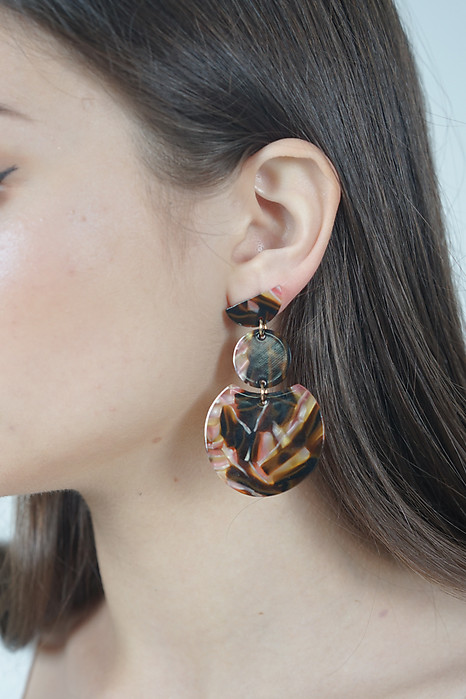 Triple Drop Earrings in Mosaic Brown - Arriving Soon