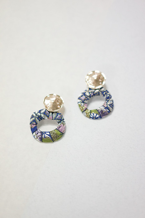 Floral Embroidery Hoop Earrings in Blue - Arriving Soon