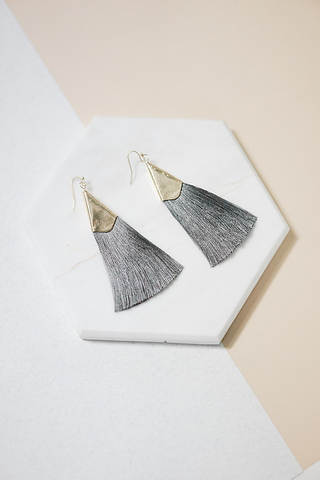 Sleek Tassel Earrings in Charcoal