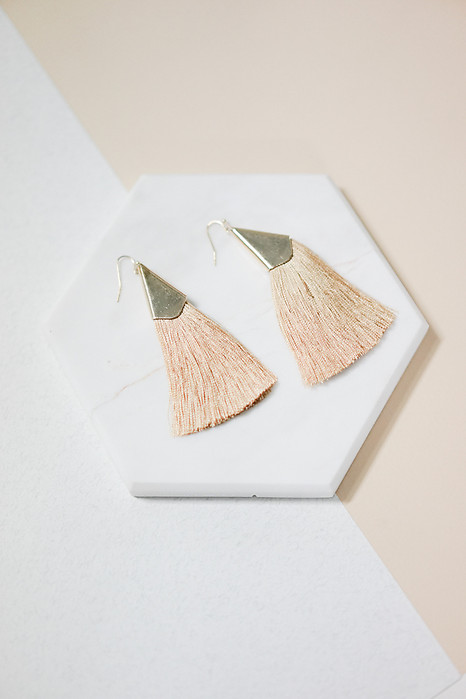 Sleek Tassel Earrings in Caramel