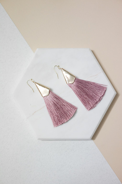 Sleek Tassel Earrings in Mauve - Arriving Soon