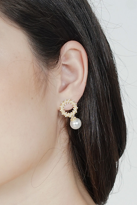 Sabine Pearl Earrings with Gold Hoops - Arriving Soon