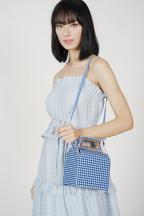 Sachi Box Bag in Blue Gingham - Arriving Soon